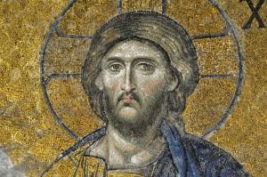 """Мозайка на Исус Христос от църквата """"Св. София"""" (Хагия София) в Истанбул, Турция (http://j.mp/1zi29G0)."""