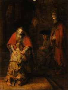 """""""Завръщането на блудния син"""" от Рембранд (1661–1669 г., 262 cm × 205 cm, помещава се в Ермитажа, Санкт Петербург)Виж http://j.mp/1rl6EfZ"""